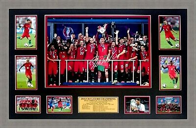 Portugal 2016 Uefa Euro Champions Tribute Collage Signed Ronaldo Framed