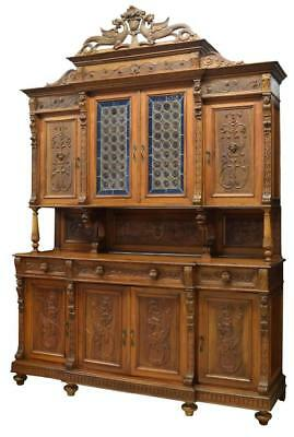 MONUMENTAL ITALIAN CARVED WALNUT STAINED GLASS SIDEBOARD, 19th Century ( 1800s )