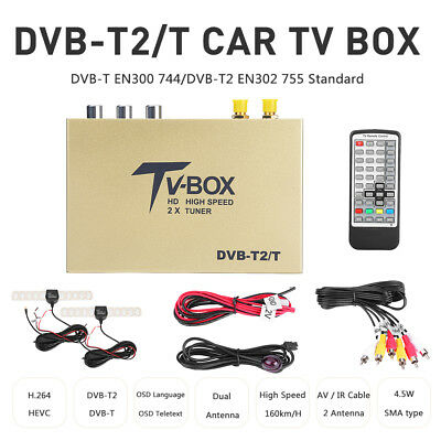 DVB-T TV Tuner TV Receiver Box Dual Tuner MEPG-4 High Speed For Car DVD Mobile