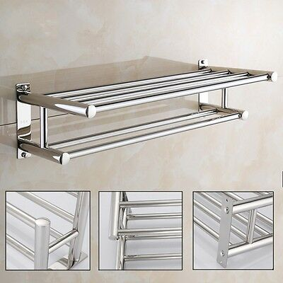 Bathroom Towel Rail Holder Rack Double Wall Mounted Shelf Bar Stainless Steel
