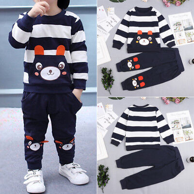 2Pcs Kids Baby Girls Boy Winter Outfit Bear Tops+Pants Striped Clothes Set Party