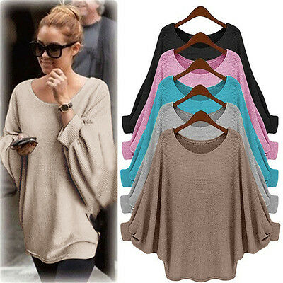 Women Oversized Chunky Sweater Batwing Sleeve Baggy Jumper Knitted Blouse Top AU
