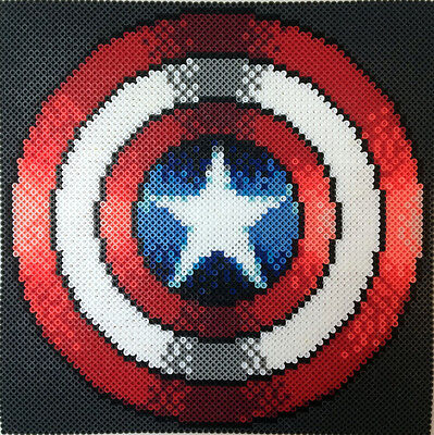 Captain America perler art necklace rave melty edm edc sprite hama plur