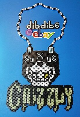 Crizzly perler art necklace rave melty edm edc sprite hama plur
