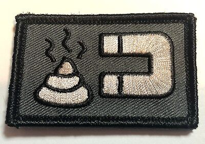 Shit Magnet Patch, Grey, With Hook Rear