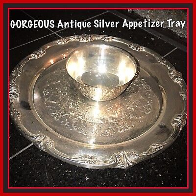 *GORGEOUS Antique Silver Appetizer Servicing Tray, Floral Engravings!