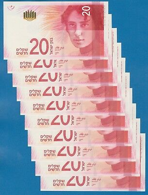 Israel 10 Notes, 20 Shekels P New 2017 UNC Low Shipping Combine FREE Dealers Lot