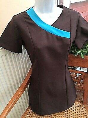 Crossover Fitted Salon-wear Beauty Tunic Brown Turquoise Trim Uniform