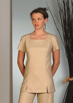 Linen Look Spa, Beauty Tunic, Square Neck Tunic Straw. Best Seller