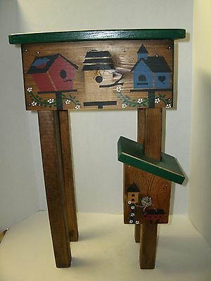 Darling Little Small Accent Table Wood with Cute Bird House Design(Hand Painted)