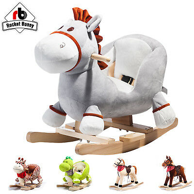 Kids Baby Ride on Toys Rocking Horse  rocking animals baby Gift Rocket Bunny