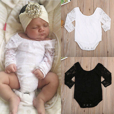 AU stock Newborn Baby Girl Lace Floral Romper Outfit Jumpsuit Bodysuit Clothes