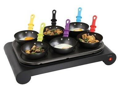 Elektro Wok-Set 6 Pfannen Domoclip DOM200 Mini Crepe-Maker Party-Wok Grill