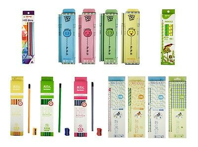 Funky Fun Set of 12 HB Pencils Patterned School Office Home Art Craft Stationery