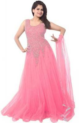 Designer Suits Net Self Design Semi-stitched lolipop baby pink color Gown