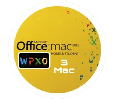 Microsoft Office 2011 Home & Student Word Excel Power Point Outlook 3Mac
