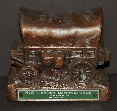 Banthrico Covered Wagon Coin Bank New Florence National Antique Advertising PA