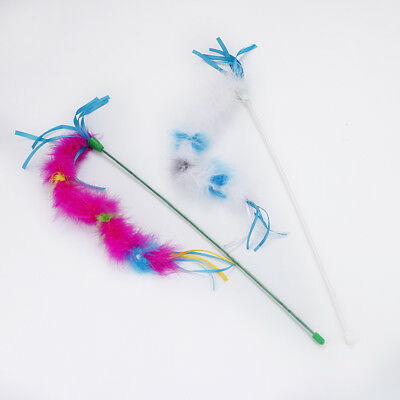 Cat Kitten Multi Coloured Feather Boa Teaser Activity Wand Toy