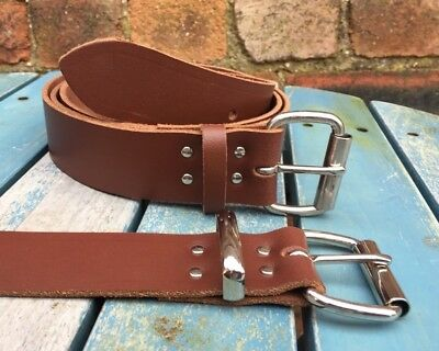 "Mid Brown Belt Real Leather Handmade Choice of Buckles & Widths 3/4"" - 1 1/2"""