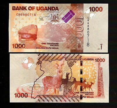 MONEY WORLD FROM UGANDA IN AFRICA, 1 NOTE OF 1000 SCHILLING, P-49e, 2017 UNC