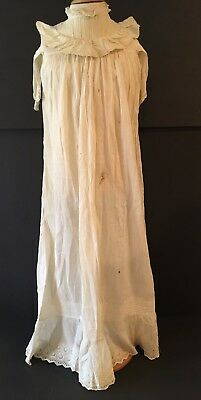 Vintage Victorian Off White Cotton Long Christening Gown Dress Ruffle Top Tucks