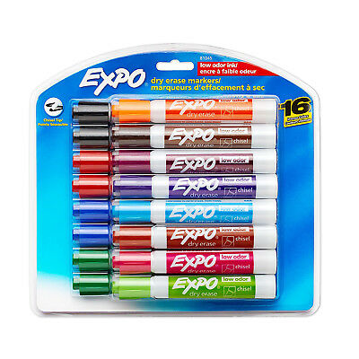 Expo Dry Erase Markers Lot Low Odor Chisel Assorted Set 16 Pcs