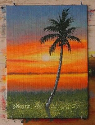 5x7 inch Original Florida landscape oil painting Indian River - STOCKING STUFFER