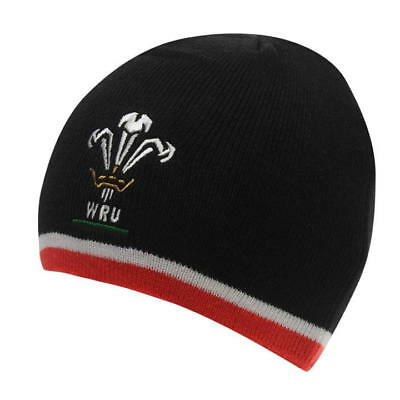 Welsh Rugby Union Beanie Hats Black Red White Trim