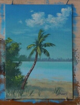 5x7 inch Original Florida landscape oil painting Coconut Palm - STOCKING STUFFER