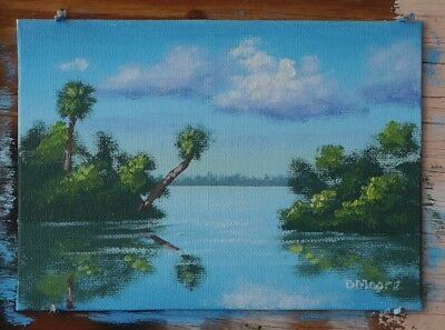 5x7 inch Original Florida landscape oil painting St Lucie River STOCKING STUFFER