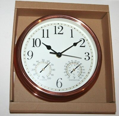 Wall Clock - Copper Coloured Case with Thermometer + Humidity Dials (23cm)