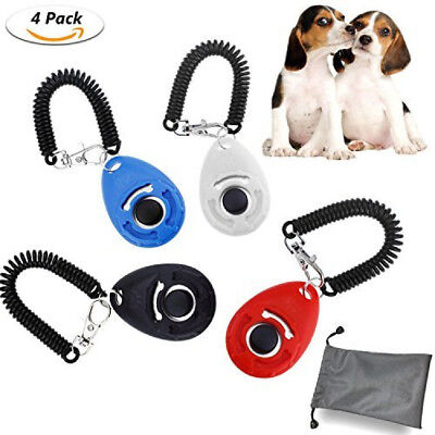 WisFox Pet Dog Training Button clicker with wrist band Strip 4 Piece & 4 Color