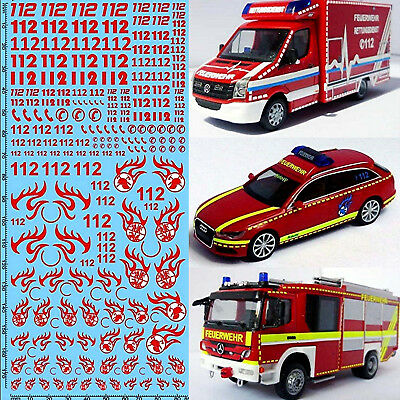RESCUE SERVICES FIRE BRIGADE DE 11 Emergency Services Red 1:87 Decal