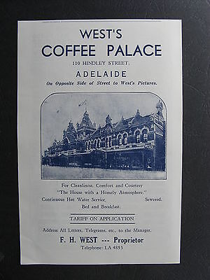 West's Coffee Palace Hindley St Adelaide F H West Proprietor c1953  Advertising