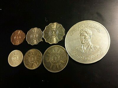 Iraq 1959 full coin set lots of silver with Abdul Kareem Qasim medal great shape