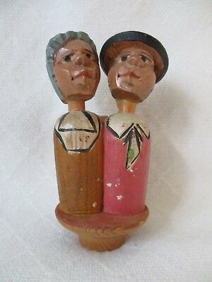 Vintage Folk Art Hand Carved and painted Wood Kissing Couple Bottle Stopper