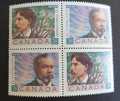 Canada 1989 Canadian Poets SG1329/30 block 4 MNH UM unmounted mint never hinged