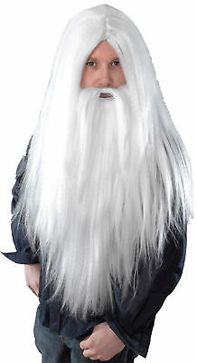 Merlin Gandalf Dumbledore Magician Xmas Party Long White Wizard Wig Beard Set UK