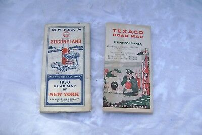 Antique 1930S Road Maps Of New York And Pa Socony And Texaco Original