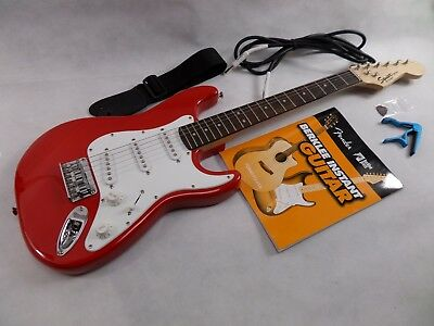 Squier by Fender Strat Mini Guitar 3/4 size Electric Guitar Red & Accessories.