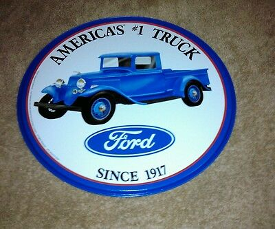 "Collector ""America's #1 Truck Ford "" 12"" Round Tin Sign"