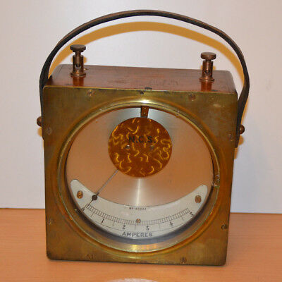 Antique NCS Amperes Volt Electrical Test Meter Wooden Brass Case Instrument Prop
