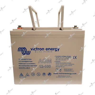 Batterie camping car Victron AGM super CYCLE 12v 100ah 260x168x215mm