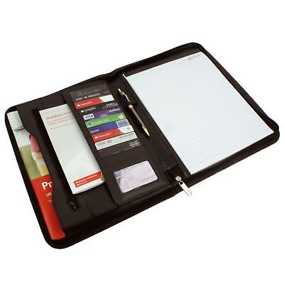 A4 Leather Zipped Business Conference Meeting Folder Bag Organiser Ring Binder