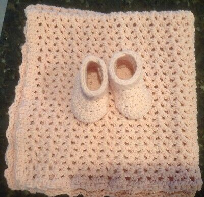 Pink Handmade Crocheted Baby Afghan And Baby Boots