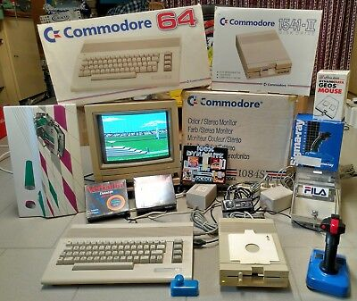 Commodore C64 + Disk Drive 1541-II + FarbStereo Monitor 1084S mit Zubehör & OVP