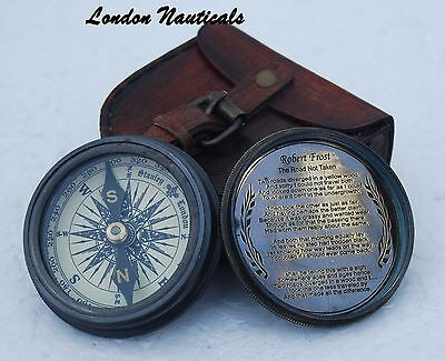 Antique Poem Compass Robert Frost Engraved Compass Brass Compass W/leather Case