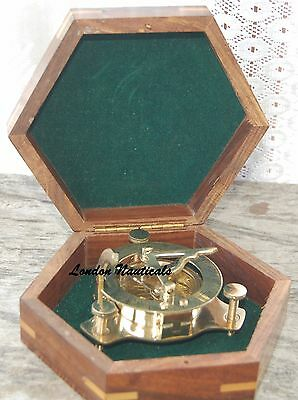 Sundial Compass Brass Compass Pocket Vintage West London Maritime W/woodcase