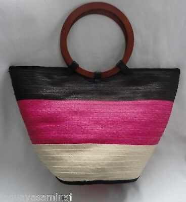 Pink and brown raffia tote bag caña flecha Bolso