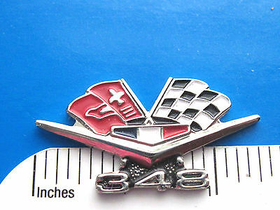 348 CHEVY flags engine - hat pin , tie tac , lapel pin , hatpin GIFT BOXED